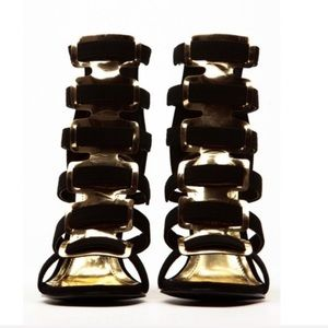 New Black And Gold Single Sole Strap Wedge Heel